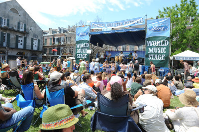 One of many neighborhood stages at French Quarter Festival, bringing in locals and tourists to enjoy some of the best music in the region. (Photo: Paul Broussard)